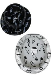 10in Music Note Derby Hats Comes in an Assortment of Black and White
