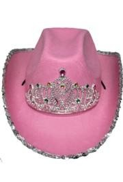 6in Tall Felt Pink Rhinestone Cowgirl Hat