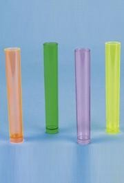 5 1/4in Tall 1 1/2oz Assorted Color Plastic Neon Shot Glass Tubes