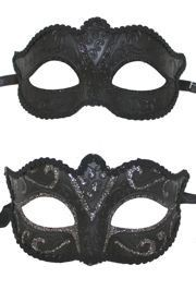 6in Wide x 3in Tall Paper Mache Black Cat Eye Masquerade Mask With Black Or Silver Glittery Scrollwork