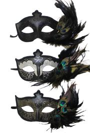 Black Paper Mache Masquerade Mask with Peacock Feathers