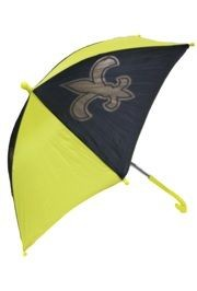 14in Black/ Gold Nylon Umbrella w/ Fleur-De-Lis Design