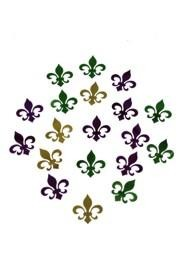 2 oz 3/4in x 3/4in Metallic Purple Green Gold Fleur-De-Lis Confetti