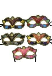 Paper Mache Masks: Assorted Color Block Venetian Masks