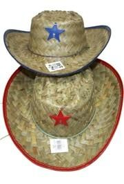 14 1/2in x 13in Straw Sheriff/Cowboy Hats Comes in an Assortment of Red and Blue Trim