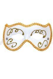 Eye Masks: White Venetian with Gold Glitter Scrollwork