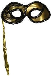 Gold Lamei Masquerade Mask On A Golden Stick With Black And Silver Lace Detail