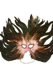 Light Pink Feather Masquerade Mask with Dark Coque and Peacock Feather