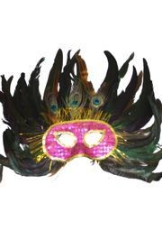 Hot Pink Sequin Face Feather Masquerade Mask with 3 Peacock Feathers