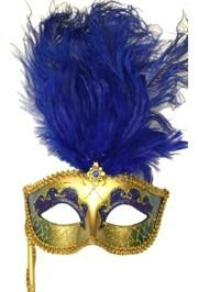 Gold Paper Mache Venetian Masquerade Mask On A Stick with Glitter Accents and with Blue Large Ostrich Feathers