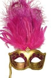 Gold Paper Mache Venetian Masquerade Mask on a Stick with Glitter Accents and with Hot Pink Large Os