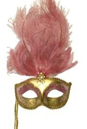 Gold Paper Mache Venetian Masquerade Mask on a Stick with Glitter Accents and with Light Pink Large Ostrich Feathers