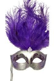 Silver Paper Mache Venetian Masquerade Mask on a Stick with Glitter Accents and with Purple Large Ostrich Feathers