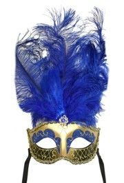 Blue and Gold Paper Mache Venetian Masquerade Mask with Glitter Accents and with Blue Large Ostrich Feathers