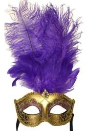 Purple and Gold Paper Mache Venetian Masquerade Mask with Glitter Accents and with Purple Large Ostrich Feathers