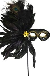Black Sequin Feather Masquerade Mask on a Stick with Feathers on the Side