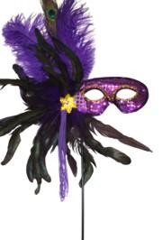 Purple Sequin Feather Masquerade Mask on a Stick with Feathers on the Side