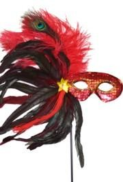 Red Sequin Feather Masquerade Mask on a Stick with Feathers on the Side