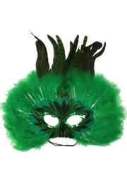 Green Feather Masquerade Mask with Dyed Pheasant Feathers