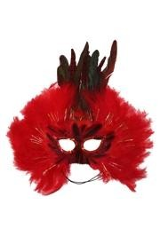 Red Feather Masquerade Mask with Tinsel with Dyed Pheasant Feathers with Sequin Trim Around The Eyes