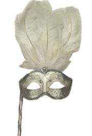 Silver Paper Mache Venetian Feather Masquerade Mask On A Stick
