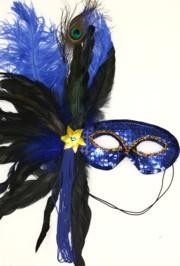 Blue Sequin Feather Masquerade Mask with Feathers on the Side and with a Flower