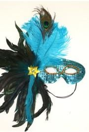 Turquoise Sequin Feather Masquerade Mask with Feathers on the Side and with a Flower