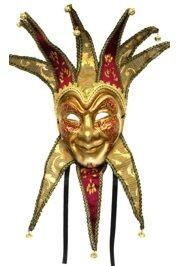 Burgundy Hand Painted Paper Mache Venetian Jester Masquerade Mask