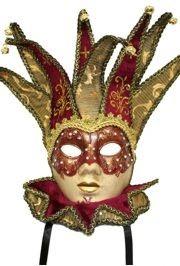 Paper Mache Mask: Burgundy Venetian Masquerade Mask
