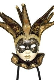 Brown Paper Mache Hand Painted Venetian Masquerade Mask With Hat And Collar