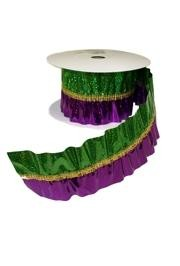Purple, Green, and Gold Laser Mardi Gras Crinkle Ribbon