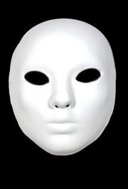 White Blank Paper Mache Full Face Masquerade Mask