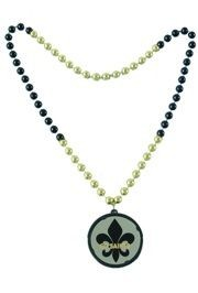 32in 10mm Black/ Gold Fleur-De-Lis Flashing Tunnel Light Up  Beads