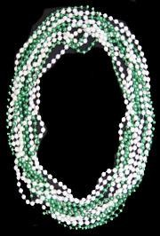 7mm 33in Green and White Pearl Mix Mardi Gras Beads
