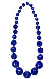 Graduated Blue Metallic Round Ball Necklace