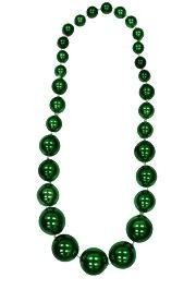 Graduated Green Metallic Round Ball Necklace