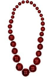 Graduated Red Metallic Round Ball Necklace