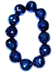 48in 100mm Blue Metallic Disco Ball Shape Necklace