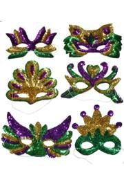 Sequined Mask can have sequins around the eyes or covered in sequins. Sequin mask include the Sequined Jester Half Mask, Sequined Bead mask...