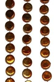 38in Metallic  Orange Hockey Puck Beads