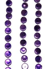 38in Metallic Purple Hockey Puck Beads