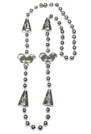 36in Metallic Silver Cheerleader Beads