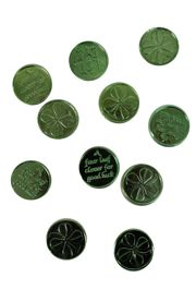 1 1/2in St Patricks Day Metallic Green Plastic Doubloons/ Coins
