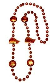 36in Metallic Orange Baseball Beads