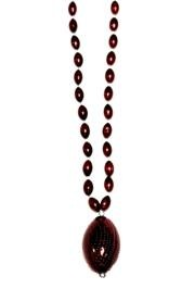 38in Metallic Burgundy Beads w/ 2in Plastic Football
