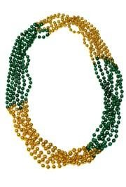 33in 7mm Round 4 Section Metallic Green/ Met Gold Beads