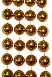 72in 16mm Round Gold  Metallic Beads
