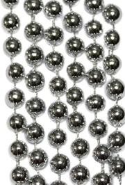 10mm 42in Metallic Silver Beads
