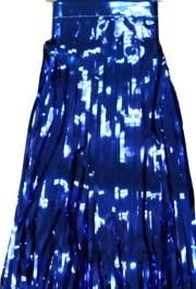 29in x 14ft Metallic  Blue Fringe Table Skirt