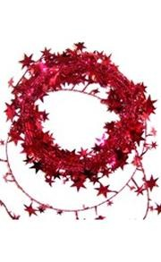 Metallic Red Star Wire Garland